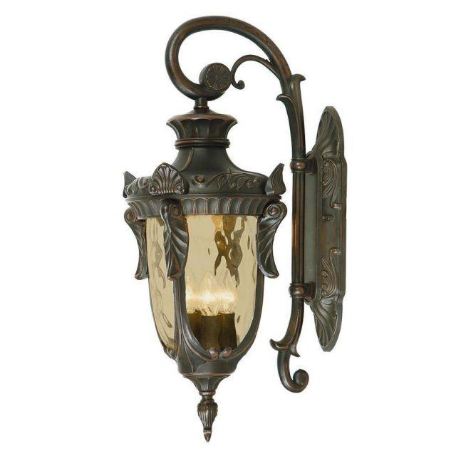 Elstead PH2/LOB Philadelphia 3 Light Large Down Wall Lantern Light In Old Bronze