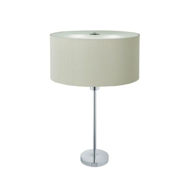 Searchlight 4562-2CR Drum Pleat 2 Light Table Lamp In Chrome With Cream Shade