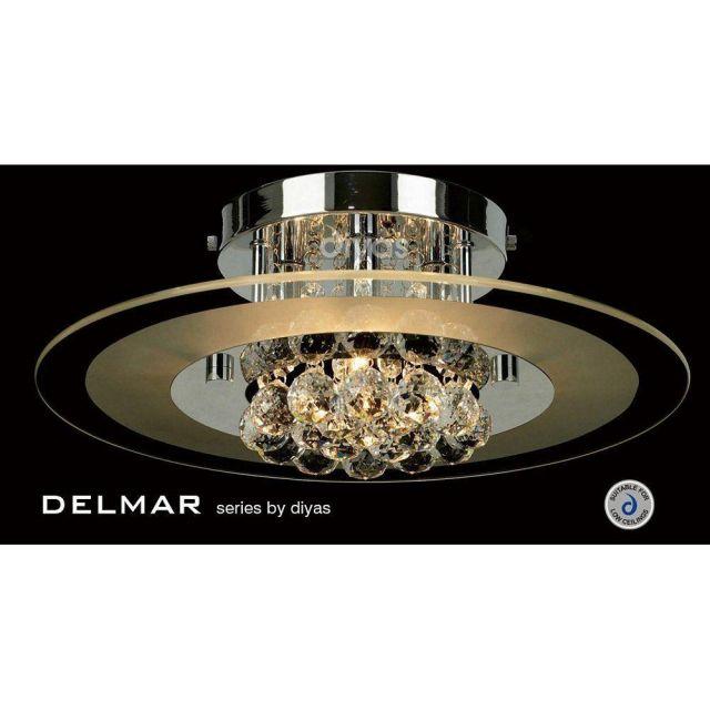 IL30021 Delmar Chrome 4 Light Round Ceiling Light