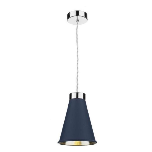 David Hunt Lighting HYD0123C Hyde 1 Light Ceiling Pendant In Polished Chrome And Smoke Blue