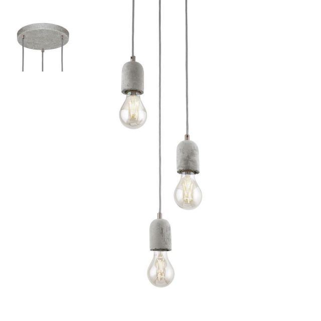 Eglo 95523 Silvares Three Light Ceiling Cluster Pendant Light In Grey