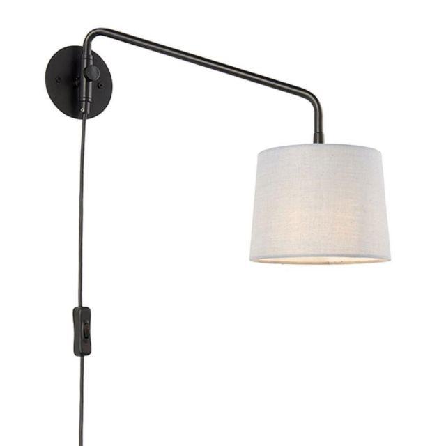 Endon 79500 Carlson Small Plug In Wall Light In Matt Black With Light Grey Fabric Shade - H: 290mm