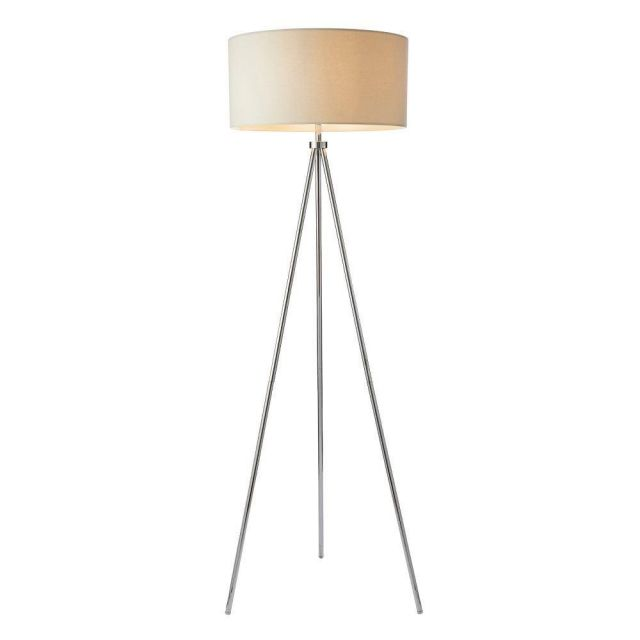 Endon 73145 Tri Ivory One Light Floor Lamp In Chrome Plate With Ivory Linen Mix Shade