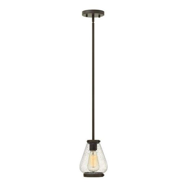 HK/FINLEY/P OZ Finley 1 Light Bronze Mini Pendant with Seeded Glass Shade