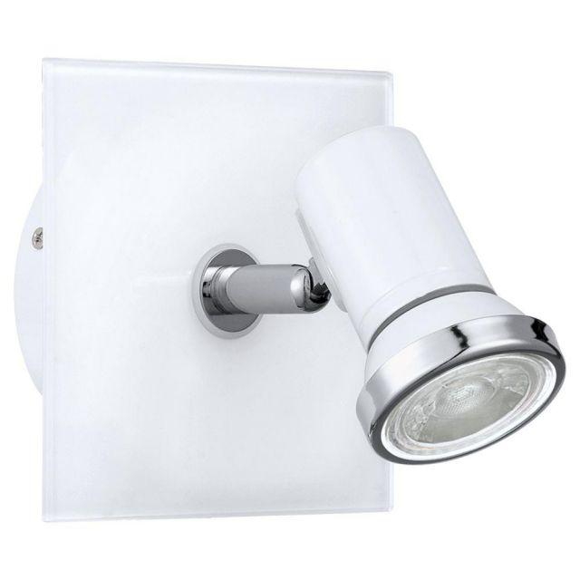 Eglo 95993 Tamara 1 One Light Bathroom Wall Spotlight In White And Chrome