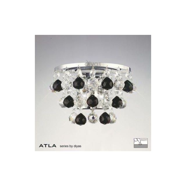 IL30014BL Atla 2 Light Wall Bracket with Black Asfour Crystals
