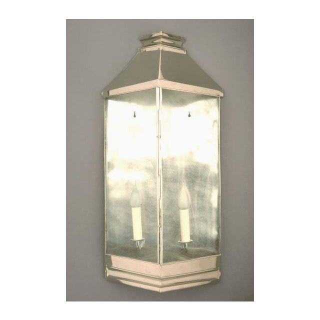 Greenwich N504A Large Solid Brass Nickel Plated 2 Light Wall Lantern