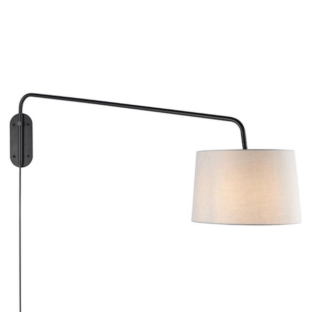Endon 79380 Carlson Large Plug In Wall Light In Matt Black With Light Grey Fabric Shade - H: 630mm