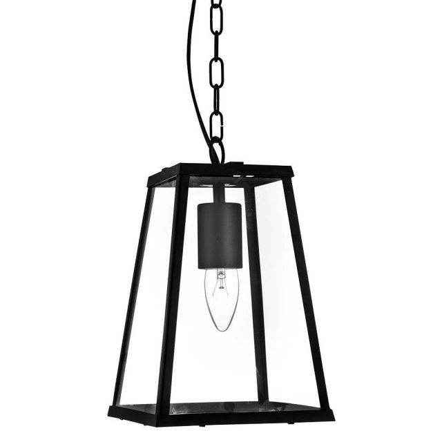 Searchlight 4614BK Voyager 1 Light Tapered Ceiling Pendant Light In Matt Black With Clear Glass