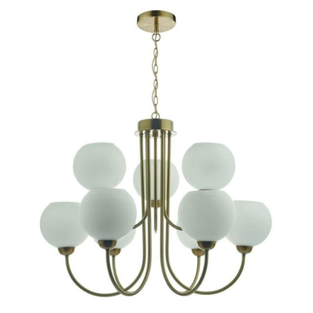 Dar IND1335 Indra 9 Light Multi Arm Ceiling Pendant In Brass With Opal Glass