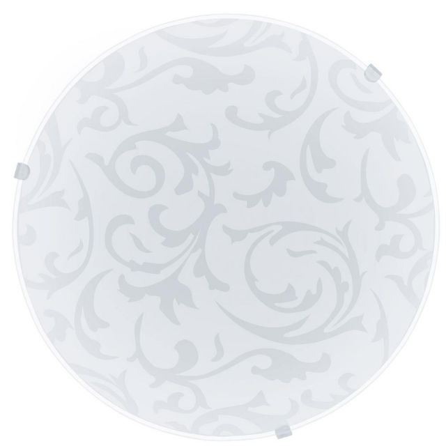 Eglo 91236 Mars Wall/Ceiling Light In White With Satin Glass Decor - Dia: 250mm