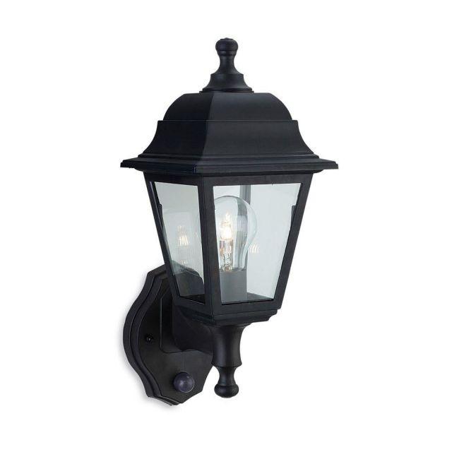 Firstlight 8400BK Oslo Uplight Wall Lantern With PIR In Black Resin