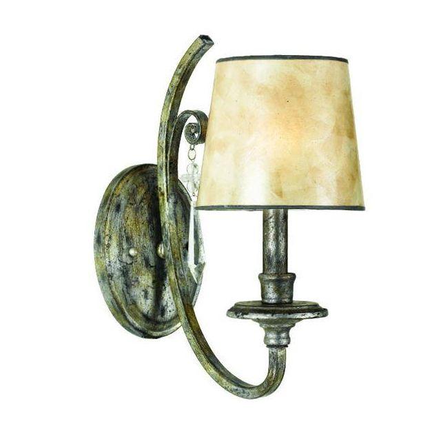 QZ/KENDRA1 1 Light Mottled Silver & Crystal Drop Wall Light