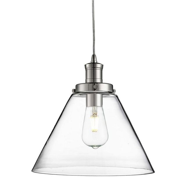 Searchlight 3228CC Pyramid 1 Light Ceiling Light In Chrome With Clear Glass