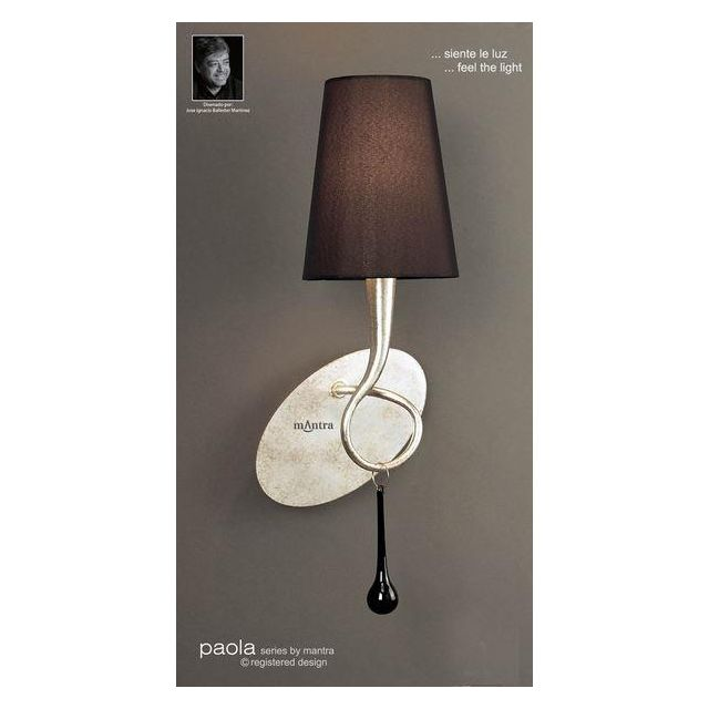 M0538 Paola 1 Light Silver Wall Lamp With Black Shade