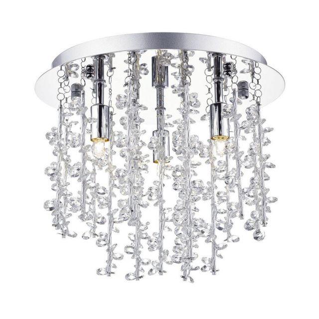 Dar SES5250 Sestina 3 Light Crystal Flush Ceiling Light