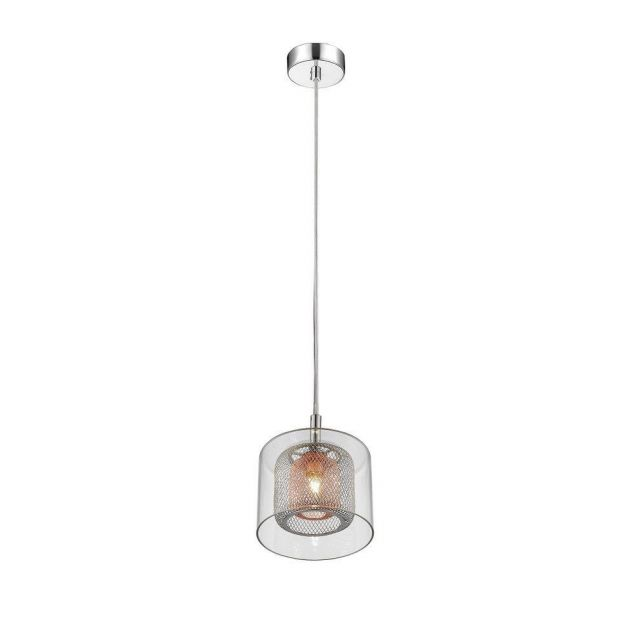 Impex PGH606101/01/CU/CH Laure One Light Ceiling Pendant Light In Chrome And Copper