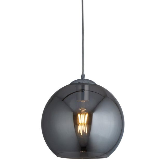 Searchlight 1632SM Balls One Light Celing Pendant In Chrome And Smoked Glass - Width: 300mm