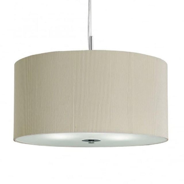 Searchlight 2353-40CR Drum Pleat 3 Light Ceiling Pendant In Chrome With Cream Shade - Dia: 400mm