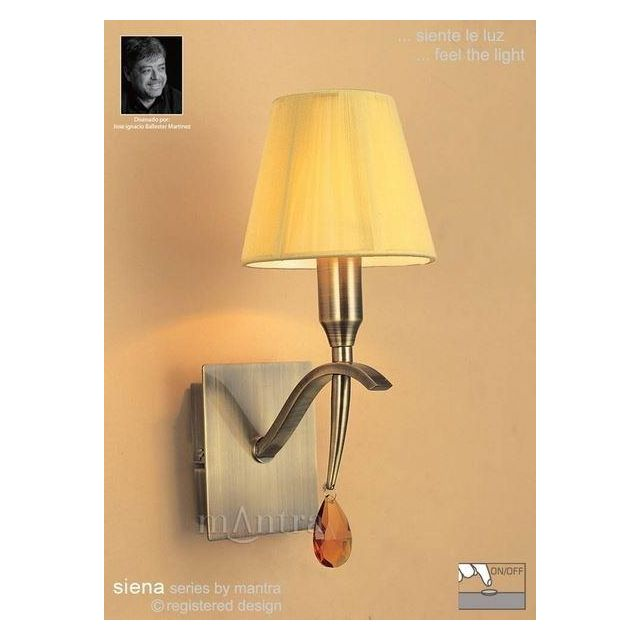 M0347AB/S Siena Antique Brass 1 Lt Switched Wall Lamp With Shades