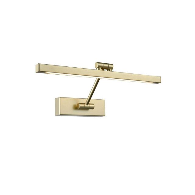 W091 LED Square Picture Light In Matt Gold Finish - Width: 380mm
