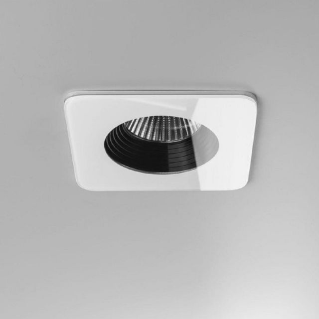 Astro 1254014 Vetro One Light Square Recessed Ceiling Downlight In White - L: 90mm