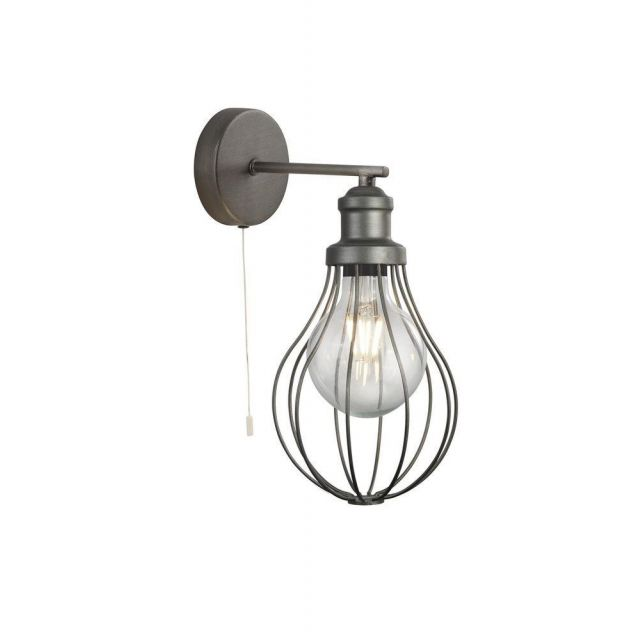 Searchlight 1380PW Balloon Cage 1 Light Wall Light In Pewter