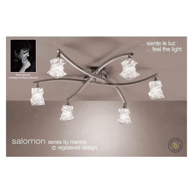 M3026SN Salomon 6 Light Satin Nickel Flush Ceiling Lamp