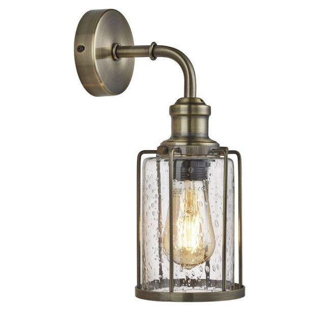 Searchlight 1261AB Pipes 1 Light Wall Light In Antique Brass