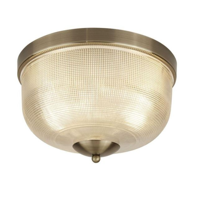 Searchlight 1352-2AB Bistro II Flush Ceiling Light In Antique Brass
