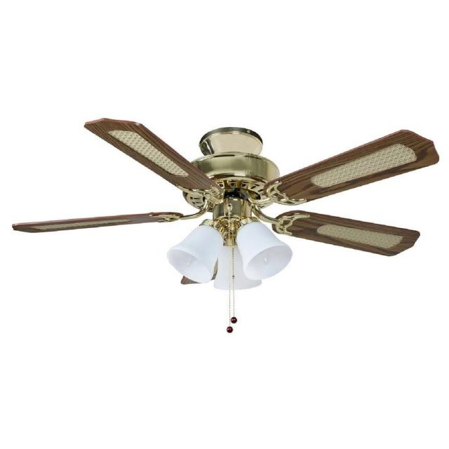 Fantasia 114192 Belaire Ceiling Fan In Polished Brass With Oak, Cane And Mahogany Blades And Light