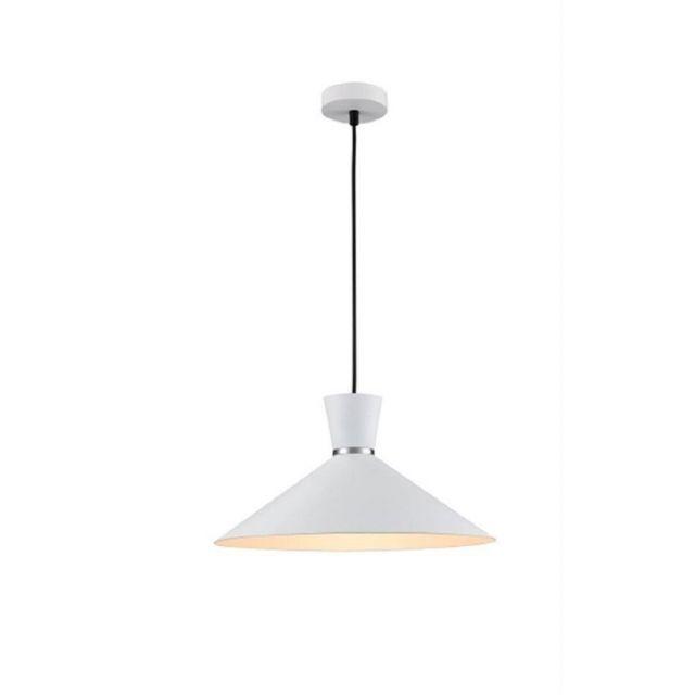 Alexa 1 Light Large Ceiling Pendant In Satin White - Dia: 400mm