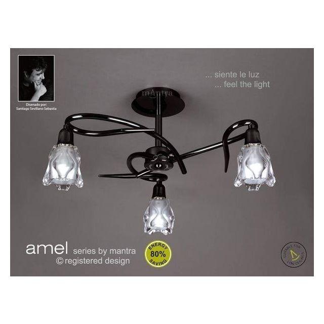 M8623BC Amel Low Energy 3 Light Black Chrome Semi-Flush Lamp