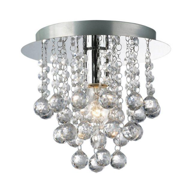 Palazzo 1 Light Round Acrylic Flush Ceiling Chandelier In Polished Chrome