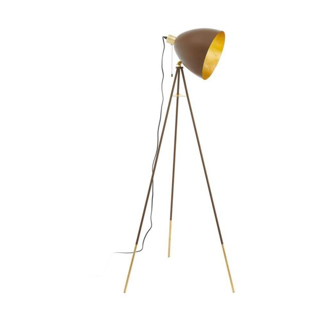 Eglo 49519 Chester 1 One Light Tripod Floor Light In Rust And Gold