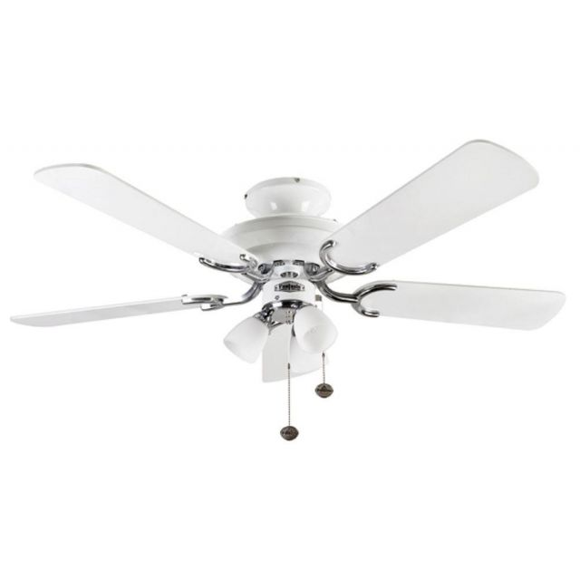 Fantasia 110009 Mayfair 42 In Ceiling Fan In White And Stainless Steel With White Blades