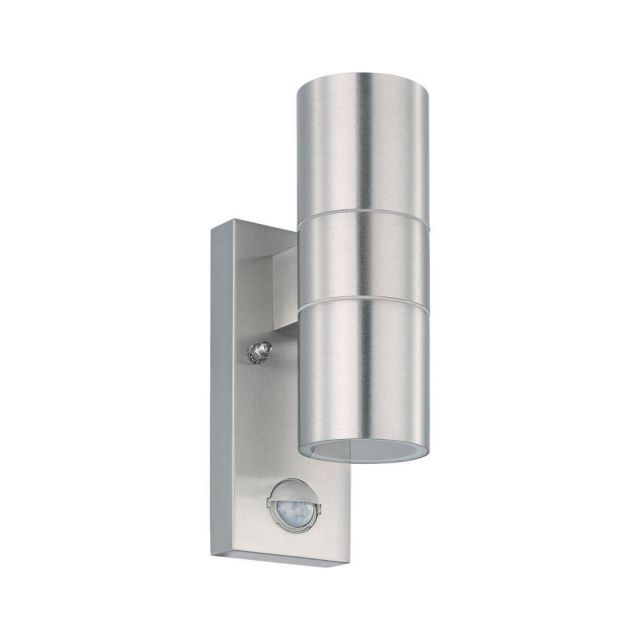 Eglo 32898 RIGA 5 2 Light Outdoor Wall Light In Stainless Steel With Motion Sensor