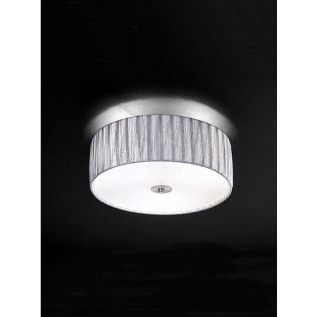 F2283/3 Medium Satin Nickel and Silver Flush Ceiling Light