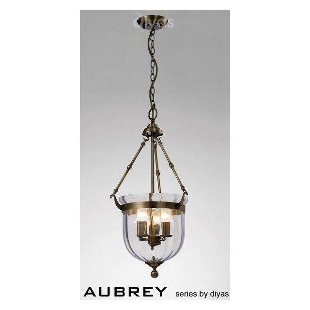 IL31076 Aubrey 3 Light Antique Brass Ceiling Pendant