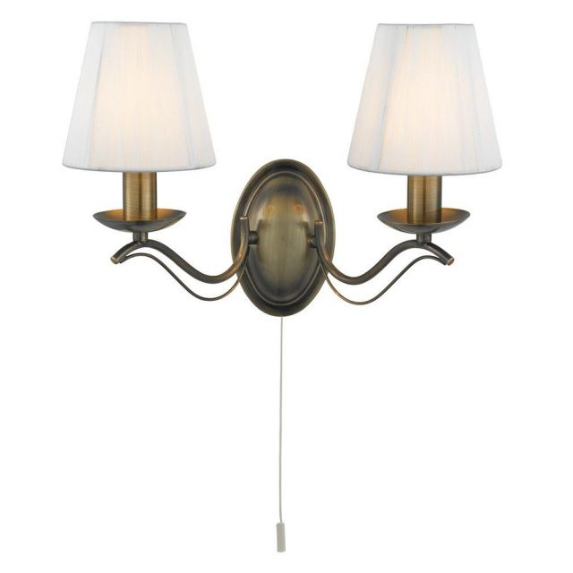 Searchlight 9822-2AB Andretti Traditional Antique Brass Double Wall Light