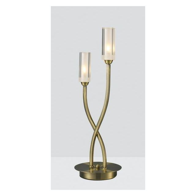 Dar MOR4075 Morgan 2 Light Antique Brass Table Lamp
