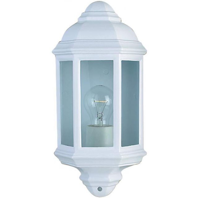 Traditional IP44 Outdoor Half Wall Light in White with Clear Glass Panels