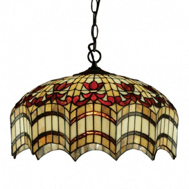 Interiors 1900 64375 Vesta Tiffany Medium 3 Light  Ceiling Pendant In Bronze
