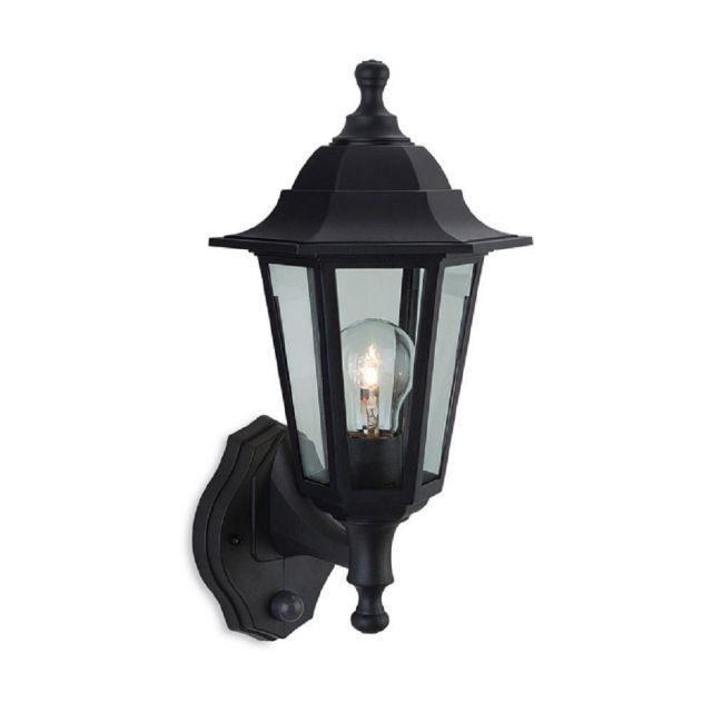Firstlight 8401BK Malmo Uplight Wall Lantern With PIR In Black Resin