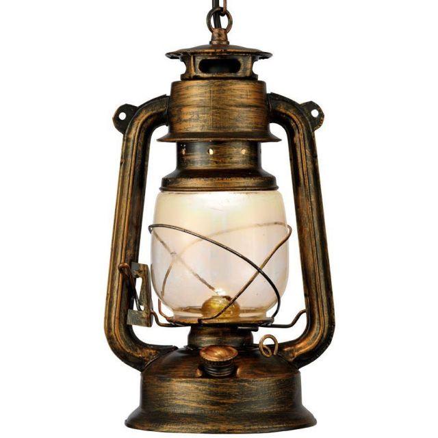 Searchlight 3841-1BG Black Gold Hurricane Lantern Pendant Light