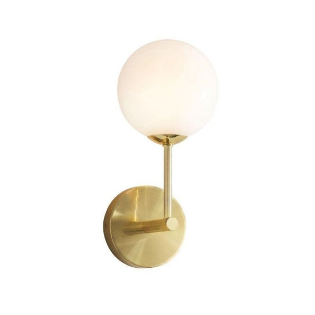 1 Light Wall Light In Brushed Brass Plate And Gloss White Glass