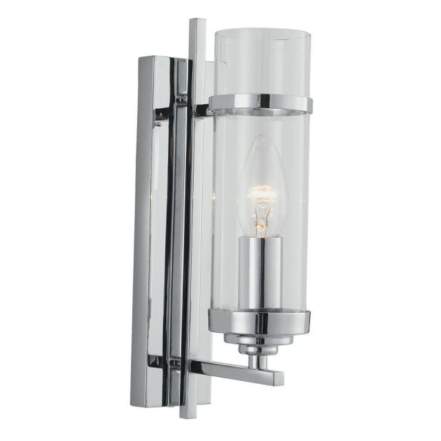 Searchlight 3091-1CC Milo 1 Light Modern Chrome And Glass Wall Lamp