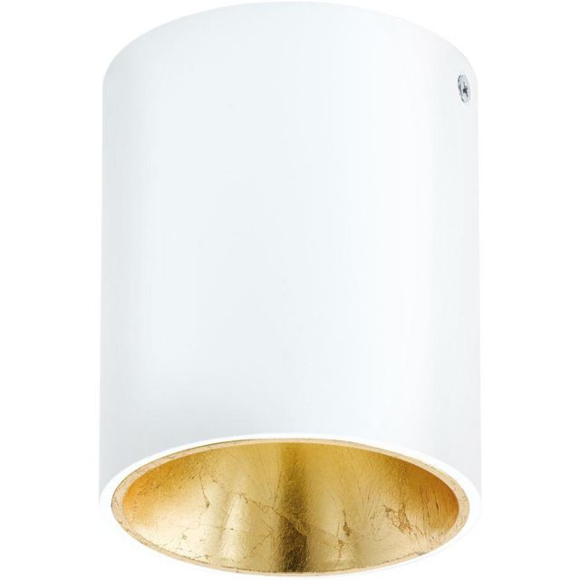 Eglo 94503 Polasso One Light Cylindrical LED Ceiling Light In White And Gold