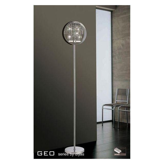 IL30235 6 Light Chrome And Crystal Floor Lamp