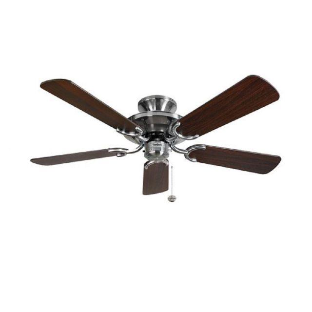 Fantasia 115441 42 Inch Ceiling Fan In Stainless Steel With Dark Oak Blades